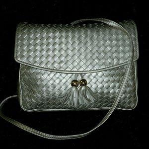 Handbags - PEWTER LEATHER METALLIC CROSS BODY BAG